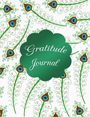 Gratitude Journal: White peacock feather swirls gratitude notebook