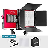 Neewer LED Video Light, Bi-Color Dimmable 660 Beads, Durable Metal Frame with U Bracket and Barndoor, 3200-5600K, CRI 96+ for Studio, YouTube, Product Portrait Photography, Video Shooting (Red)