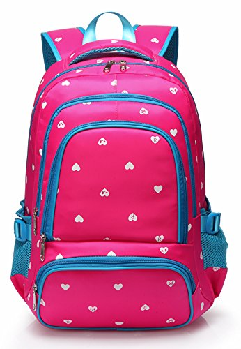 Lightweight Girls School Bags for Kids Backpack for Junior Students Child Shoulder Bag Back Pack(Rose Red & Blue)