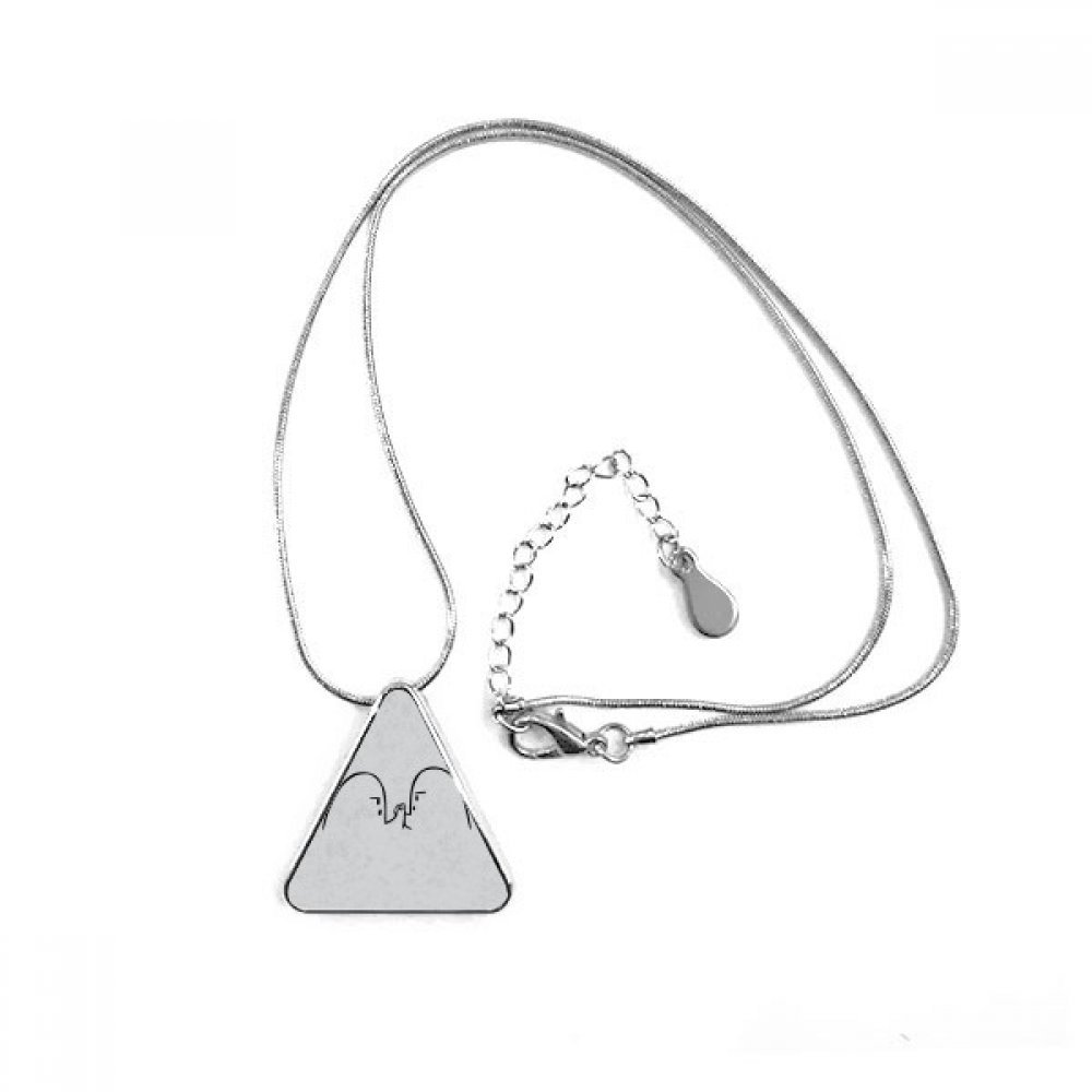 Wrist Wrestling Black Cute Chat Emoji Triangle Shape Pendant Necklace Jewelry With Chain Decoration Gift