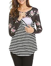 Women's Breastfeeding and Nursing Printing Long Sleeves Striped Stitching Shirt Tops