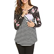 Women's Breastfeeding and Nursing Printing Long Sleeves Striped Stitching Shirt Tops