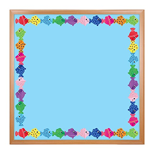 Hygloss Products Assorted Fish Die-Cut Bulletin Board Border - Classroom Decoration - 3 x 36 Inch, 12 Pack (Fish Wall Border)