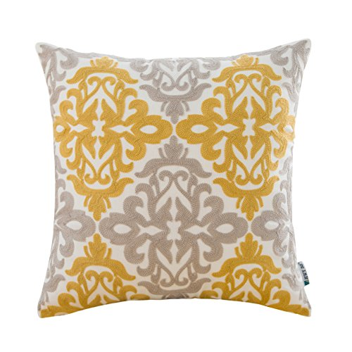 HWY 50 Yellow Grey Throw Pillow Covers For Couch Sofa Bed 18 x 18 inch, 1 Pc Cotton Decorative Embroidered Throw Pillows Cases, European Design Floral Cushion Covers