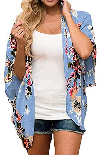 Finoceans Women Open Front Short Sleeve Cardigans Blouse M Blue