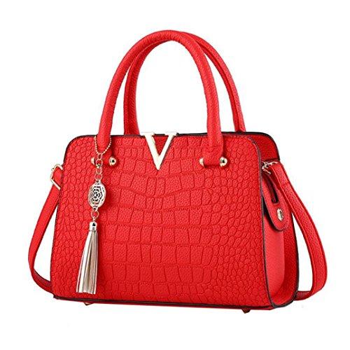 Hot Sale! Neartime Women Handbag, 2018 Woman's Tassel Crossbody Bags Leather Satchels Alligator Pattern Zipper Shoulder Bag (❤️28cm(L)×13cm(W)×20cm(H), Red)