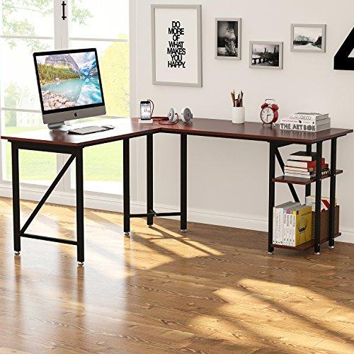 "Oversized Wood And Metal Laptop Table: Large L-Shaped Desk, LITTLE TREE 67"" Modern Corner"