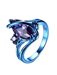 """RongXing Jewelry New Purple Cz Ring,Gold-Plated-Copper Blue S"""" Rings"""