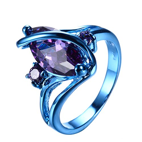 RongXing Jewelry 2016 New Amethyst Diamond Ring,14KT Gold blue