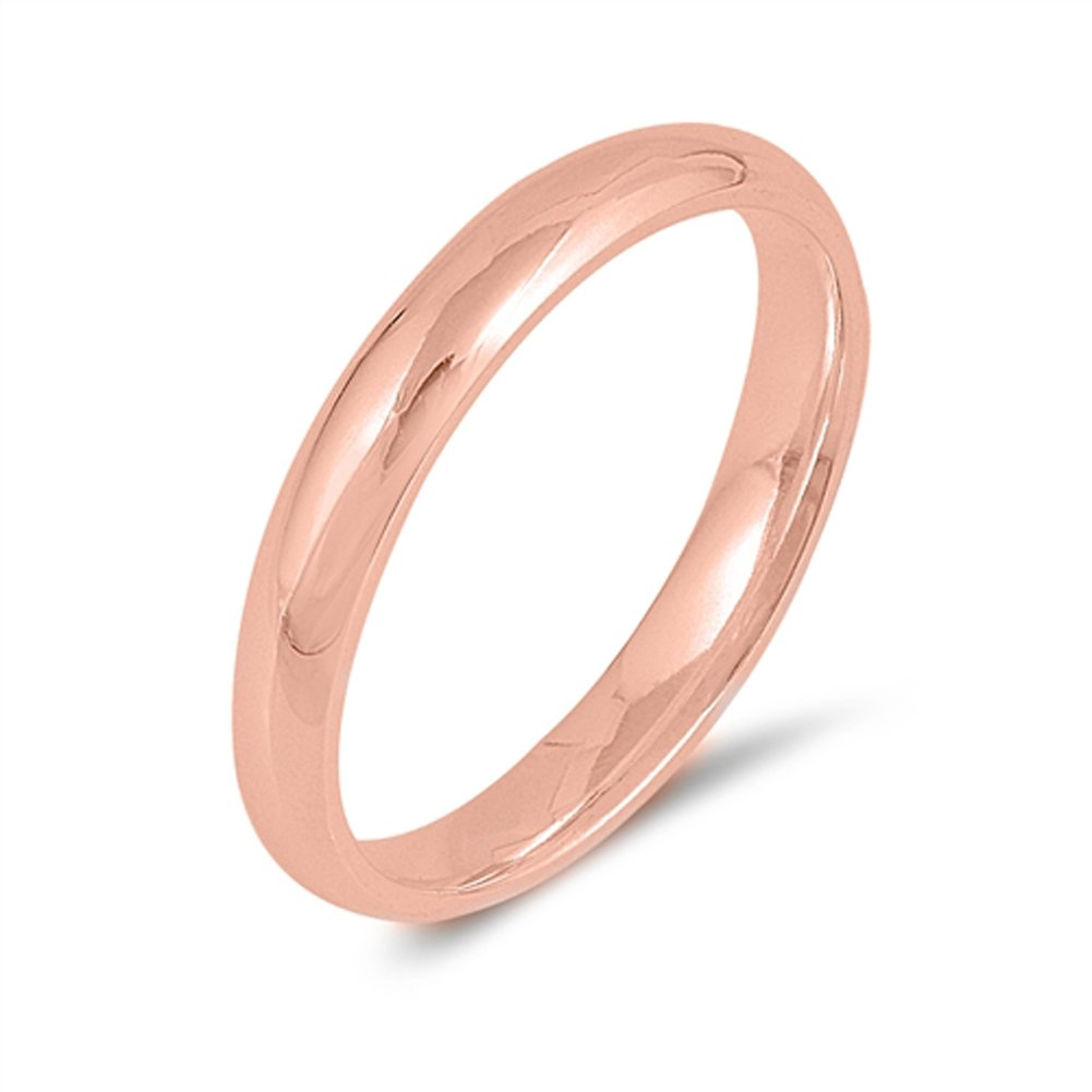 CHOOSE YOUR WIDTH Rose Gold-Tone Sterling Silver Wedding Band Mens Womens Plain Ring