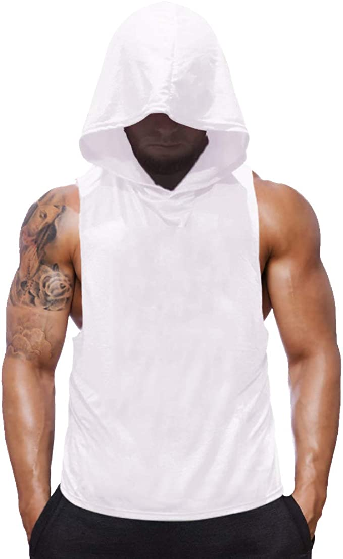 Men Hooded Sleeveless Vest Tank T-Shirt Sweatshirt Gym Sport Muscle Top Outfits