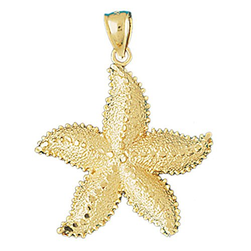 14K Yellow Gold 40mm Starfish Pendant (approx. 4.3 grams)