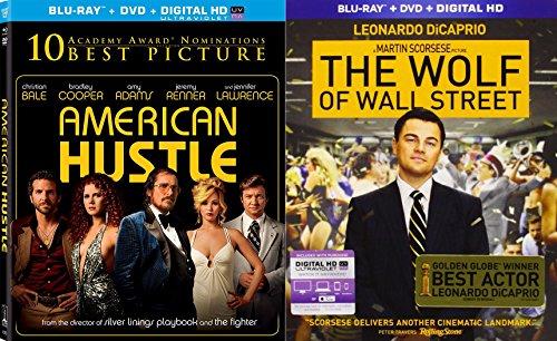 Money American Hustle + The Wolf of Street Blu Ray & DVD 2 Pack Drama Academy Award Winner Movie Set Double feature Jennifer Lawrence Leonardo DiCaprio bundle
