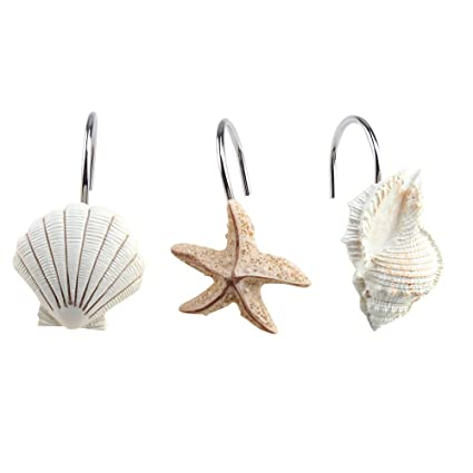 Juvale Seashell Shower Curtain Hooks