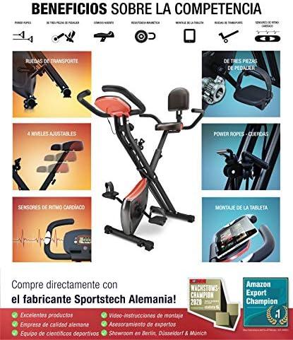 Sportstech Bicicleta estática Plegable con Respaldo X100-B con ...