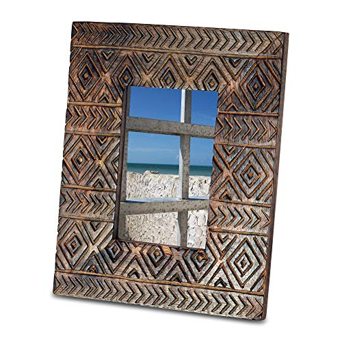 Naturally Modern Artisan Carved Photo Frame, 4 x 6 Inch Opening, Incised Tribal Pattern, Solid Wood, Clear Stain, Overall 8 1/4 x 10 1/4 Inches, Sustainable Natural Mango, Diamond and ()