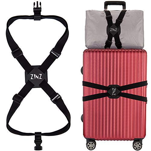 Luggage Strap, ZINZ High Elastic Suitcase Adjustable Belt Bag Bungees With Buckles And More Applications (Black-001) ()