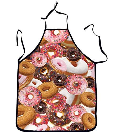 Doughnut Man Costume (Snlydtan Unisex Emoji Food Neck Halter Waist Ties Kitchen Apron Doughnuts)
