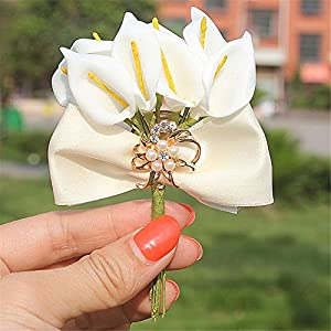 S-SSOY Boutonniere Bridegroom Groom Men's Boutonniere Groomsmen Best Man Boutineer with Pin Brooch Corsage for Wedding Homecoming Prom Suit Decoration for Men 90