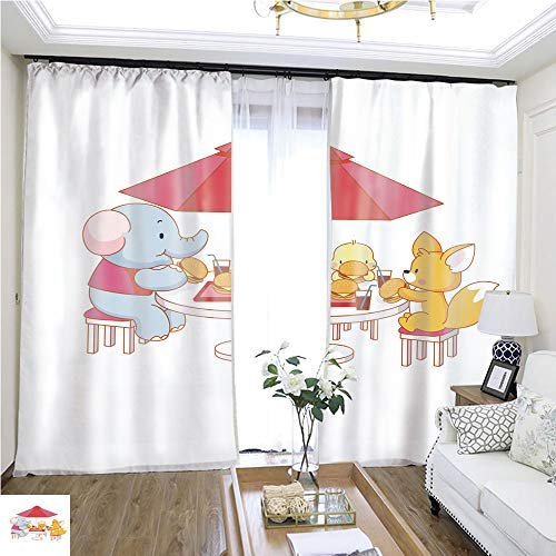 Tulle Curtain Cute Cartoon cat on a Plane W96 x L180 1235 Loop Curtain Panels Highprecision Curtains for bedrooms Living Rooms Kitchens etc.