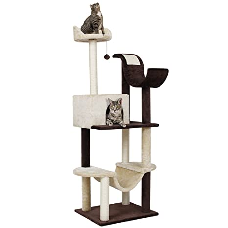 bon ajustement charme de coût vente au royaume uni Finether, albero tiragraffi per gatti, con spazio per sdraiarsi e onda,  rivestimento in sisal e peluche, design adatto per 2-3 gatti
