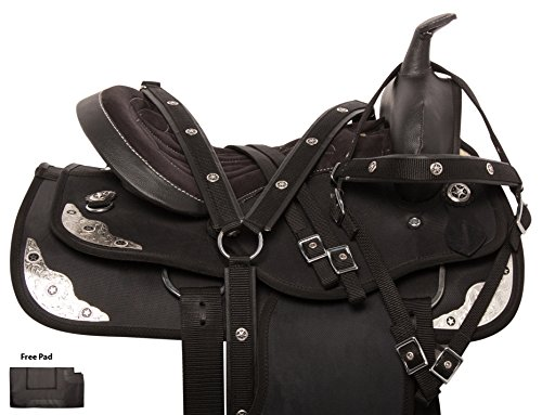 "Tack Trail Saddle Pleasure (EXTRA WIDE FULL QUARTER HORSE BARS BLACK SYNTHETIC LIGHT WEIGHT PLEASURE TRAIL TEXAS STAR SADDLE TACK PACKAGE 15"" (15))"