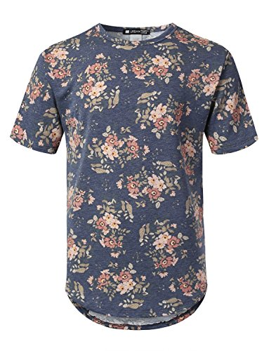 URBANCREWS Mens Hipster Hip Hop Floral French Terry Longline T-Shirt Navy, XL (Floral Cloth Terry)
