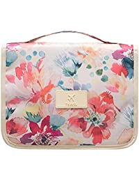 Hanging Toiletry Bag - Portable Travel Makeup Comestic Organizer - Durable Hanging Hook - for Women & Men, Perfect for Comestic , Personal items, Shampoo, Body wash (flower)
