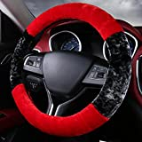 XHSP Color Patchwork Winter High Density Warm Plush Car Steering Wheel Cover