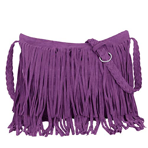 - Eforbize Suede Fringe Tassel Messenger Bag Women Hobo Shoulder Bags Crossbody Handbag Purple