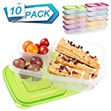 Meal Prep Containers 3 Compartment 10 Pack Food Prep Containers with Lids Portion Control Reauable Freezer Food Storage Plastic Salad Stackable Bento Lunch Box, Microwave, Dishwasher Safe