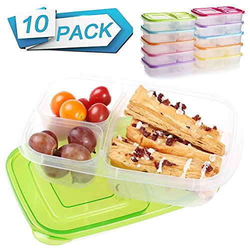 Meal Prep Containers 3 Compartment 10 Pack Food Prep Containers with Lids Portion Control Reauable Freezer Food Storage Plastic Salad Stackable Bento Lunch Box, Microwave, Dishwasher Safe by SCIONE