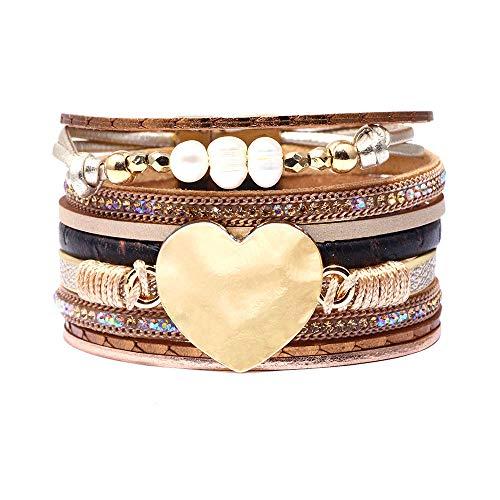 CHOA Multilayer Leather Bracelets for Women Pearl Heart Beads Wrap Bracelets Bohemian Jewelry (Light Brown)