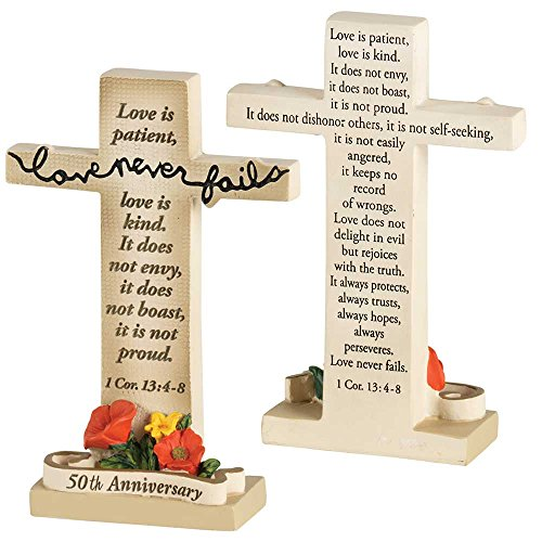 Dicksons Love Never Fails 50th Anniversary Cross 4 x 3 Inch Cream Resinstone Tabletop Figurine