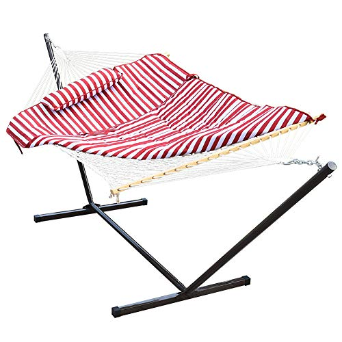 Lazy Daze Hammocks 12 Feet Steel Stand with Rope Hammock Combo, Quilted Polyester Pad and Pillow...
