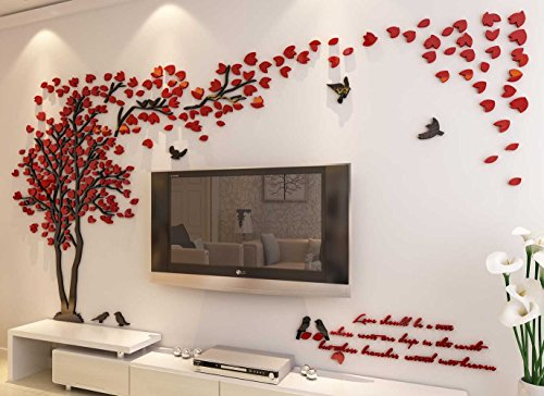 3d Couple Tree Wall Murals for Living Room Bedroom Sofa Backdrop Tv Wall Background, Originality Stickers Gift, DIY Wall Decal Home Decor Art Decorations (Large, Red) ()
