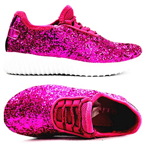 Forever Link Remy-18k Kids Todddler Girls Fashion Sneaker Glitter Flat Lace Up Shoes (1 M US Little Kid, Fuchsia-18k) -