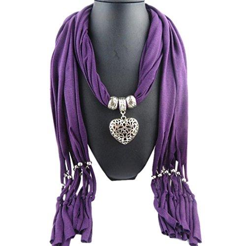 Sunward Womens Elephant Water Drop Owl Heart Pendant Tassel Charm Jewelry Scarf (Purple Heart) ()