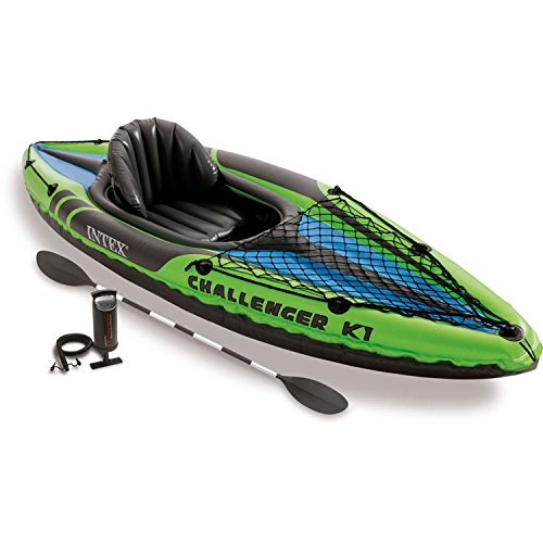 Price comparison product image Intex Challenger K1 Kayak, 1-Person Inflatable Kayak Set with Aluminum Oars and High Output Air Pump