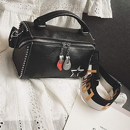 Mkhdd Casual Sacs Bandoulière Femmes Sac Rivets Femme À Black Dame Designer Main Lettre Totes Crossbody Flap dEwAwx0qr8