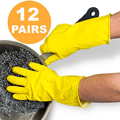 Multi Use Heavy Duty Medium Rubber Dish Gloves - 13 Inches Yellow Flock Lined Household Kitchen Cleaning, Dishwashing, Strong Work, Medical, Painting, Gardening Food Safe Glove - Pack of 12 Pairs by Fit Meal Prep