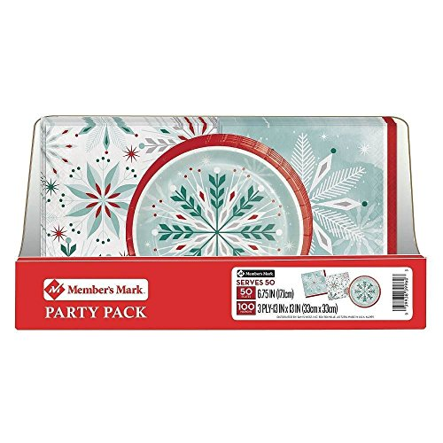 Member's Mark Wonderland Frost Snowflake Party Pack. Disposable Performa Paper Christmas Plates with Thick and Highly Absorbent 3 Ply Napkin. Perfect for Holiday Parties and (Snowflake Paper Napkins)