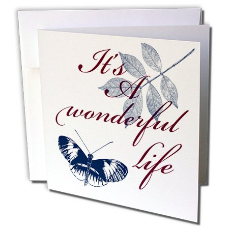 3dRose PS Inspirations - Its A Wonderful Life Blue Butterfly - 1 Greeting Card with envelope (gc_79115_5)