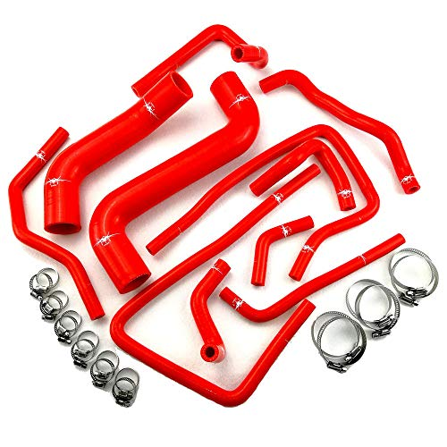 - I33T Radiator Pipe Coolant & Heater Silicone Hose Kit for Subaru Impreza Series with Clamps Set Red