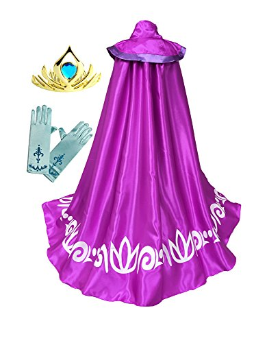 American Vogue Frozen Anna ELSA Coronation Costume Girl's Long Cape Cloak + Gloves +Tiara Crown (3-4 Years, (Elsa Costume Coronation)