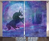 Fantasy Curtains by Ambesonne, Magical Unicorn Silhouette Legendary Mythical Creature with Stars Dream Print, Living Room Bedroom Window Drapes 2 Panel Set, 108W X 63 Inches, Violet Purple