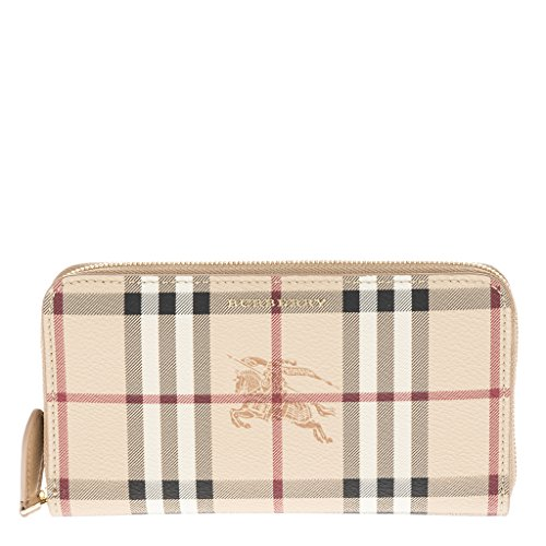 Burberry Women's Haymarket Check and Leather Ziparound Wallet Camel by BURBERRY
