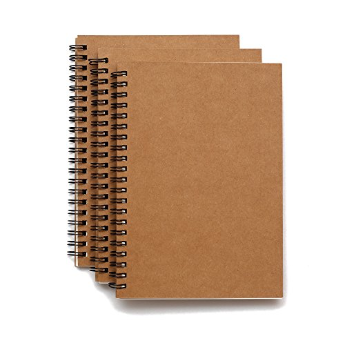 Set of 3 Soft Cover Spiral Sketch pad Notebooks - 8.25 inches by 5.5 inches - 100 Pages, 50 Sheets - Perfect for (50 Page Notebook)