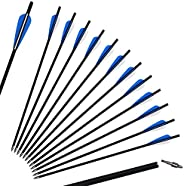 """SinoArt 20"""" Carbon Crossbow Bolt Arrows Crossbolt Arrows With 4"""" vanes for Competition Practi"""