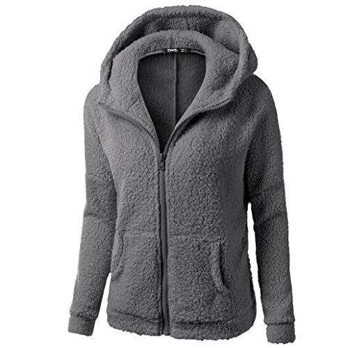 Abrigo las Outwear la mujeres capucha de Chaqueta algodón Gris caliente de de con Culater Suéter oscuro cremallera Xwx7zYzI